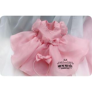 Váy công chúa màu hồng(CÓ VIDEO  MẪU NHÀ CHỤP)