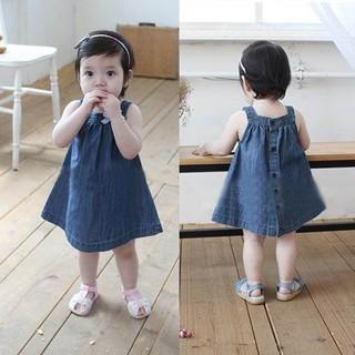 Đầm dáng xòe không tay vải jean dễ thương cho bé