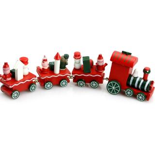♥WARM♥ Charming Wooden Christmas Santa Train Ornament Decor Gift