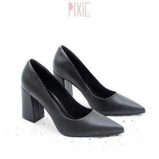 Giày Cao Gót 8cm Đế Vuông Mũi Nhọn Basic Màu Đen Pixie P159