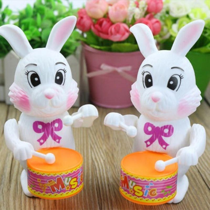 Children Happy Rabbit Beating Drummer Retro Clockwork Wind Up Tin Toy