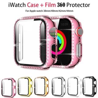 Ốp kim cương kèm phim thủy tinh bảo vệ chống va đập cho Apple Watch dòng 6 5 4 3 2 1/iwatch 40mm 44mm 38MM 42MM