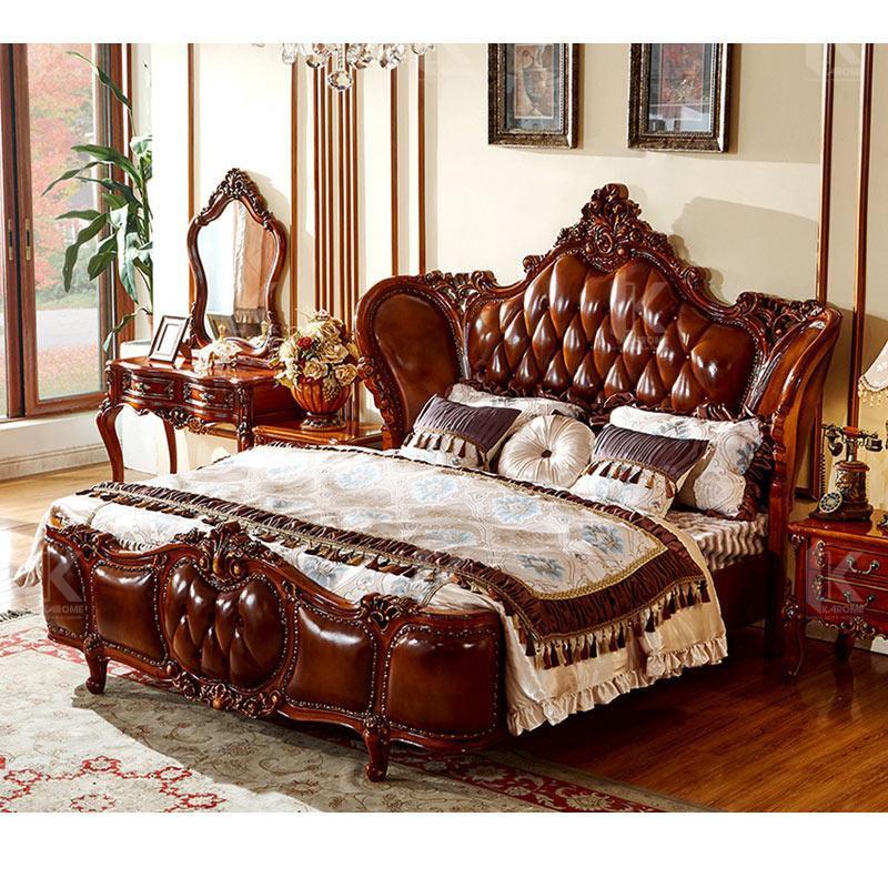 Giường Ngủ Gỗ tự nhiên 1800mm * 2000mm style Hàn Quốc bọc Da khung Nodora