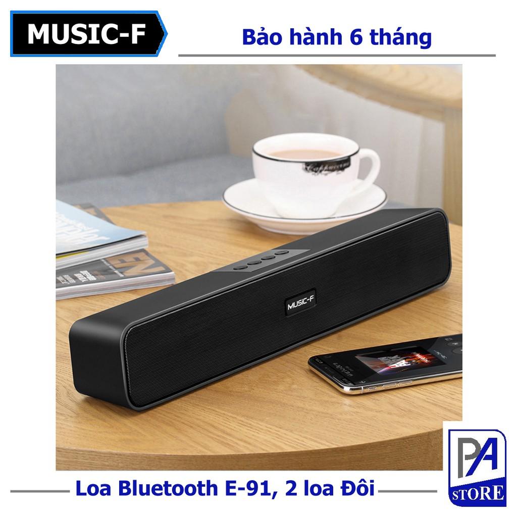 Loa Bluetooth Soundbar Siêu Trầm MUSIC E-91, Loa Đôi, Âm Thanh Trung Thực, Hỗ Trợ Thẻ Nhớ, USB, Jack 3.5