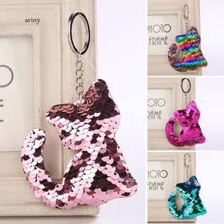 ★Cute Cat Kitten Sequin Keychain Key Ring Decoration Car Tote Handbag Pendant