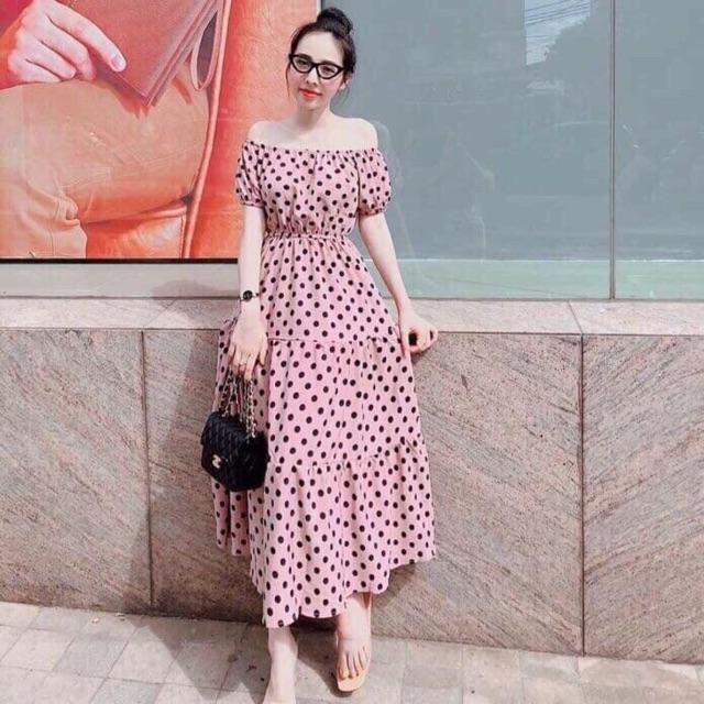 Đầm maxi trễ vai chấm bi | Shopee Việt Nam