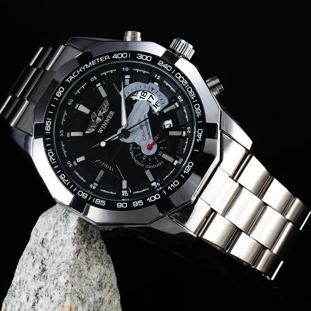 Đồng hồ nam Winner W050 cơ lộ máy có lịch - Mặt Đen