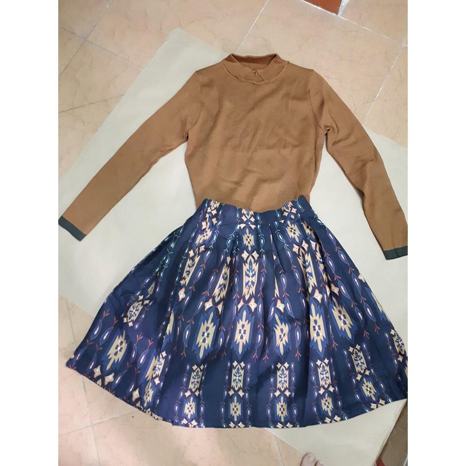 Set đầm chân váy + áo len