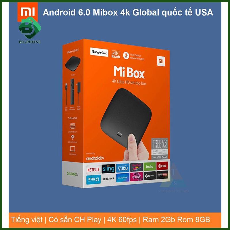 [Mã 267ELSALE hoàn 7% đơn 300K] Android tv box Mibox 4k Bản Quôc tế -12 tháng