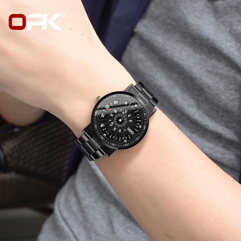 OPK 8126 Watch Men Leather Strap Genuine Waterproof Original Quartz Personality Concept Dial Wear-resistant Trendy