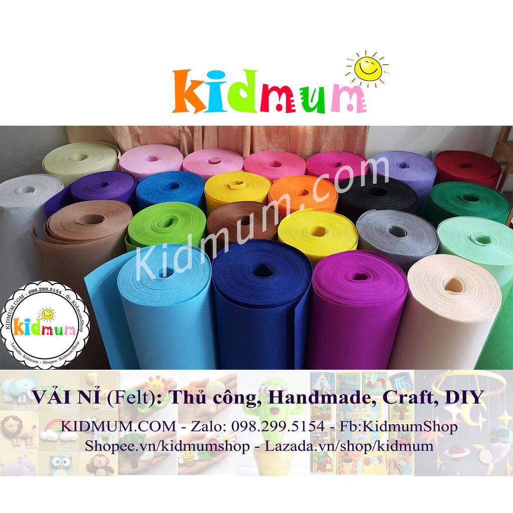 1 yard = 90*90cm, Vải nỉ cứng đủ màu, làm đồ thủ công, handmade, DIY, craft, học cụ trẻ em