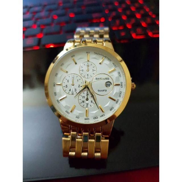 [BIG SALE]Đồng hồ nam Baishuns  khung thép mặt trắng dây xích mạ vàng cao cấp.