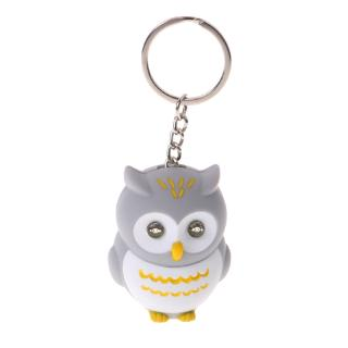 YOUN* Funny LED Kid Toys Light 3D Cartoon Owl Keyring Sound Hooting Key Chain Key Gift