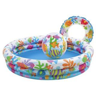 Bể bơi phao 3 tầng INTEX kèm bóng và phao bơi cho bé