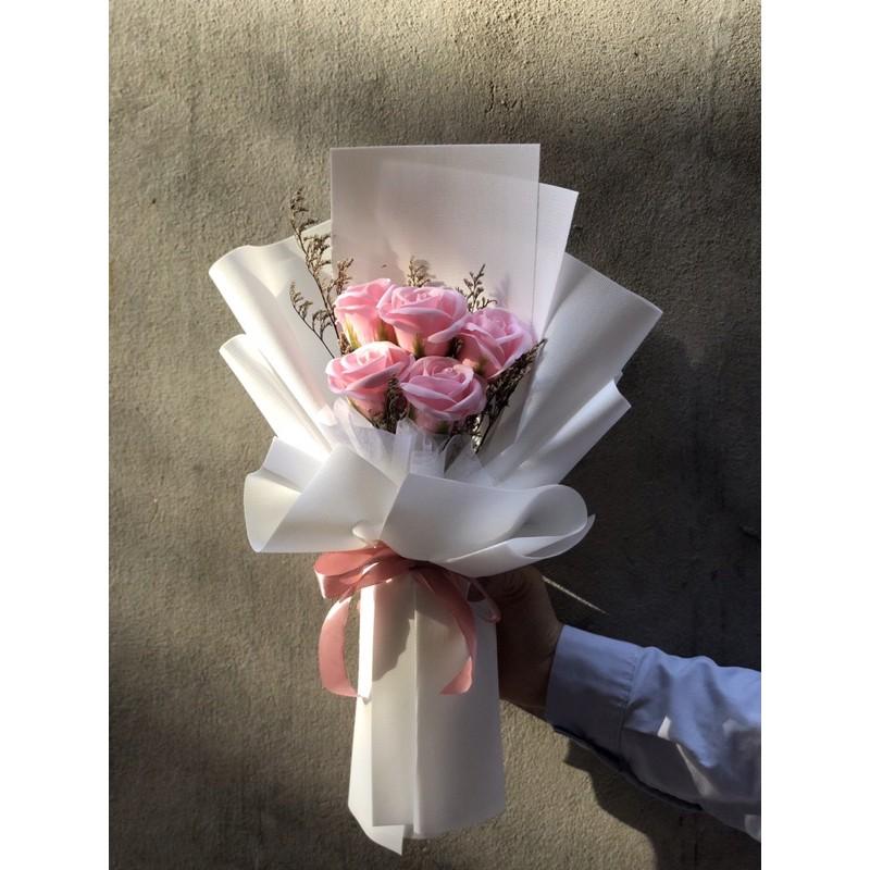 (Quà tặng)Bó hoa sáp 5 bông kiểu Hàn Quốc