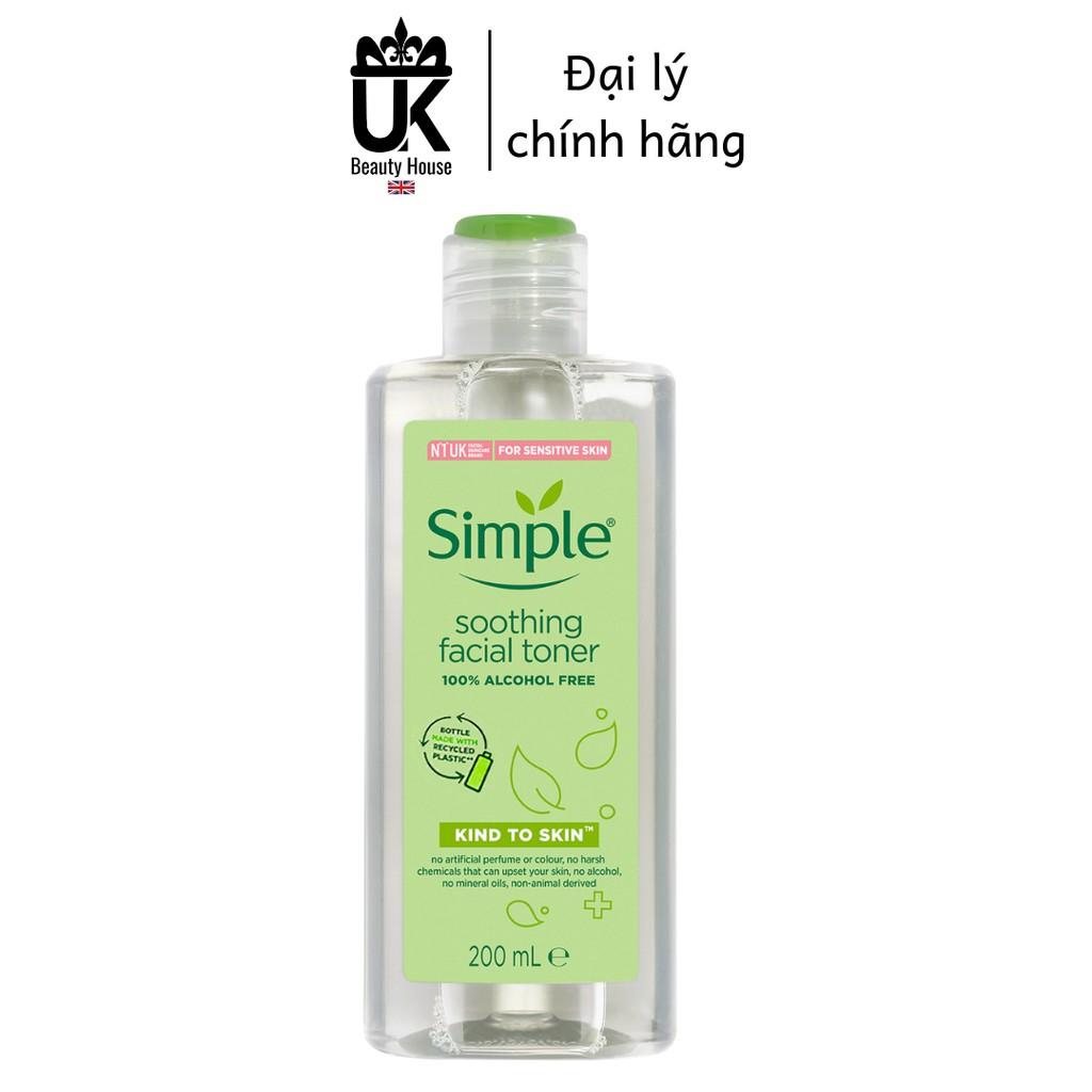[BAO BÌ MỚI] Nước Hoa Hồng Soothing Facial Toner Simple cân bằng ẩm cho da 200ml