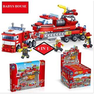 Bộ lắp ráp Kazi 4 trong 1 mô hình xe cứu hỏa thành phố