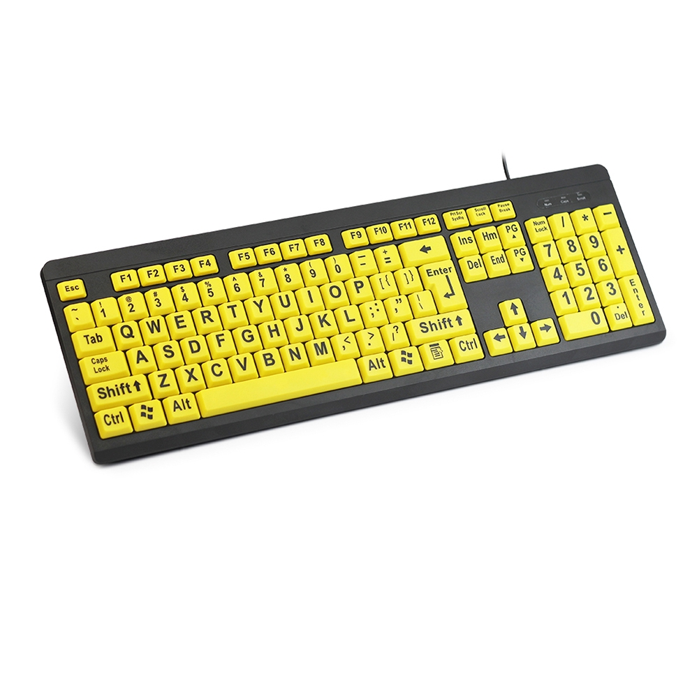 Large Print B Wired Keyboard High Contrast Big Letters PC Numeric Keypad