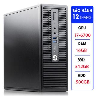 Case máy tính đồng bộ HP ProDesk 400G3 SFF, cpu core i7-6700, ram 16GB, SSD 512GB,HDD 500GB Tặng USB thu Wifi thumbnail