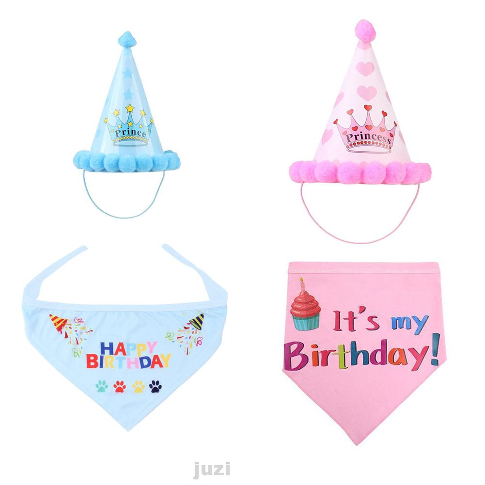 Birthday Costume Cute Decoration Dog Gift Reusable Scarf Party Accessory Pet Hat Set