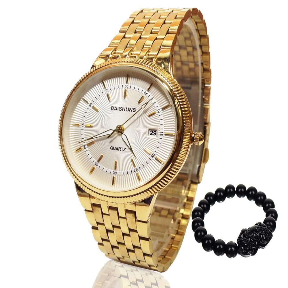 Đồng hồ nam BAISHUNS 8899SKY dây thép không gỉ cao cấp + Tặng kèm vòng tay phong thủy