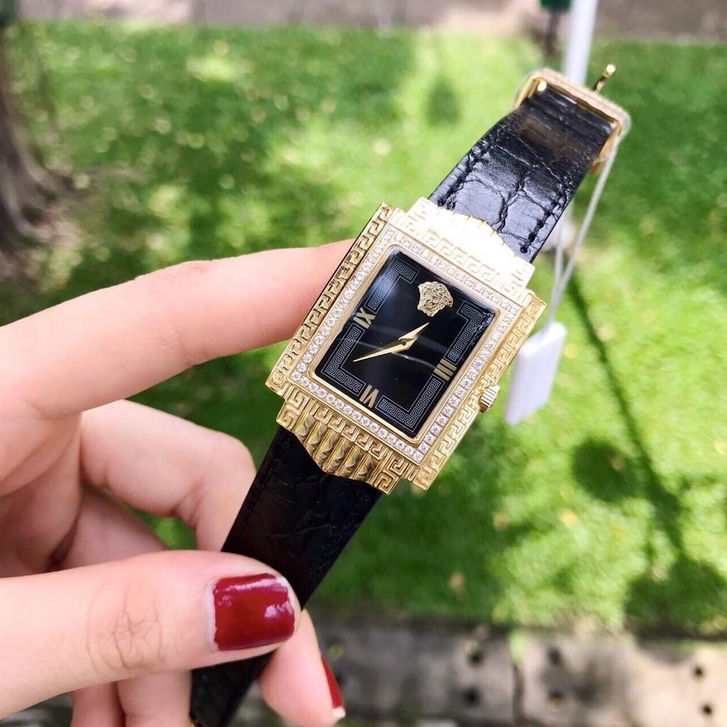 Đồng hồ nữ Versace dây da mặt chữ nhật V233 nhẹ nhàng sang chảnh dáng mới siêu hót