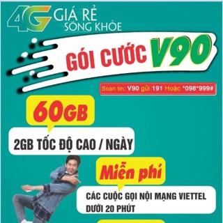 SIM VIETTEL 4G. GÓI CƯỚC V90