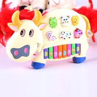 [ẢNH THẬT] Đồ chơi đàn piano hình chú bò sữa cho bé xanh