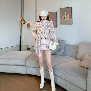 Áo khoác dạ kẻ blazer nữ phong cách hàn quốc thumbnail