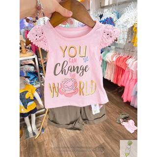 Bộ cộc tay cho bé gái chất cotton, đồ bộ mặc nhà bé gái họa tiết peppa, bộ xuất xịn bé gái BOH13
