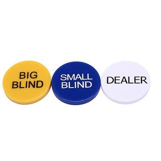 3pcs 5cm small blind+big blind+dealer button set for party poker card game