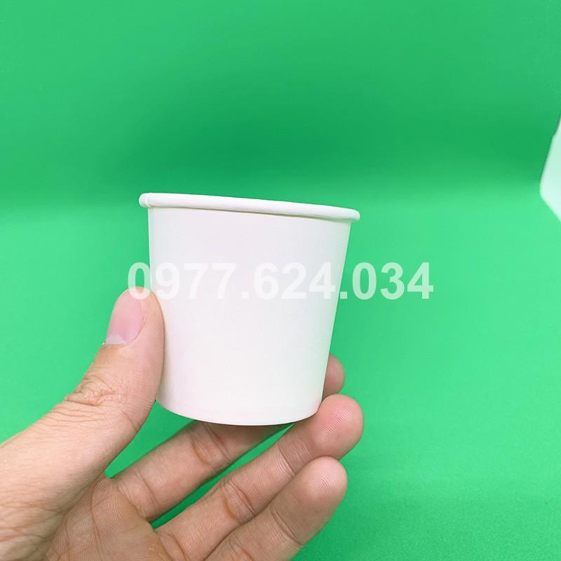 50 ly giấy nhỏ uống nước 4oz 110ml trắng trơn dùng một lần - Minh Đức Green