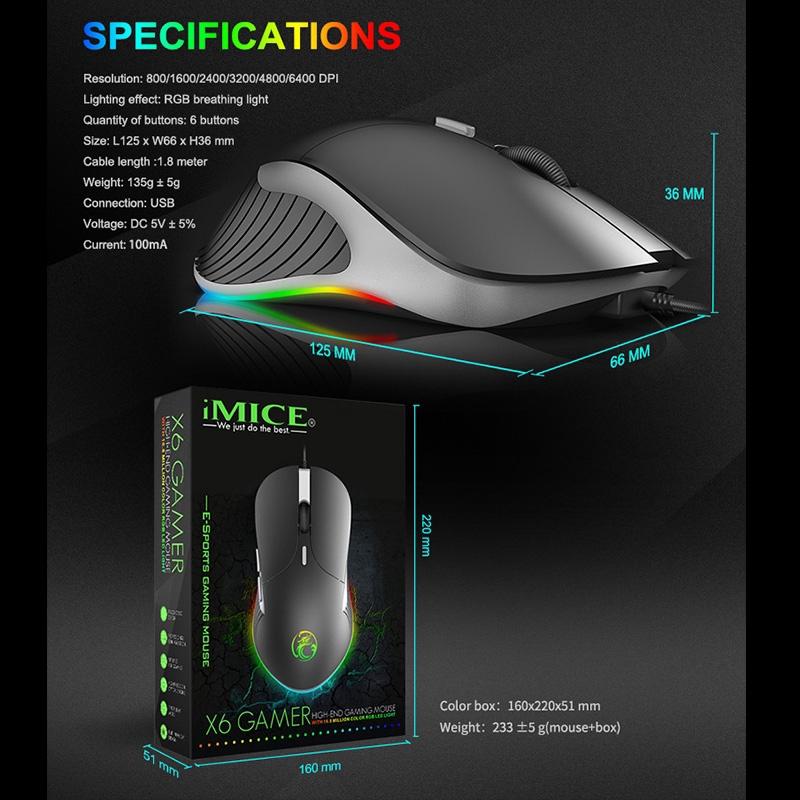 Chơi Game Bằng Chuột IMICE X6 Eating Chicken Glow LED Colorful RGB Light Mice Home 6-Key Wired Chuột Máy Tính