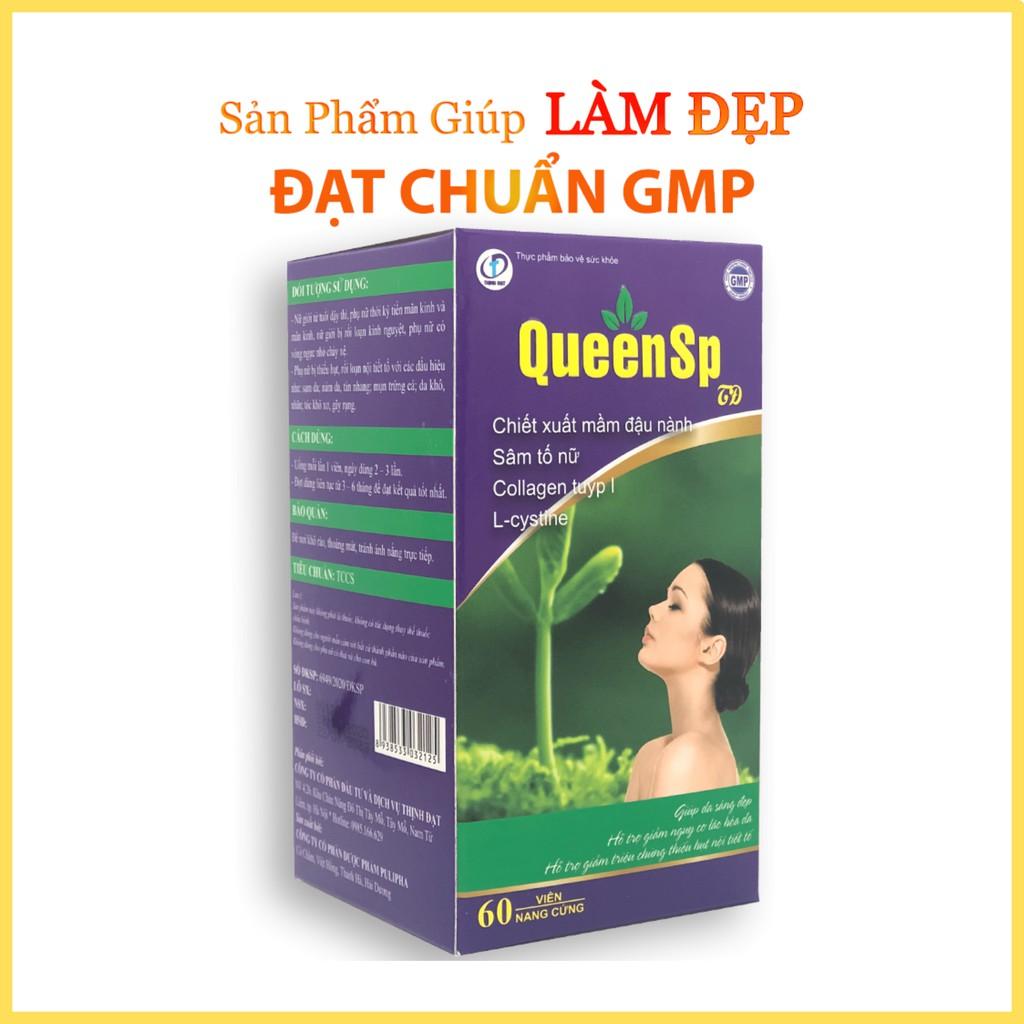 QueenSP - Viên uống cân bằng nội tiết tố, Ngăn ngừa quá trình lão hóa, giúp da trắng đẹp, khỏe mạnh ( Hộp 60 viên)