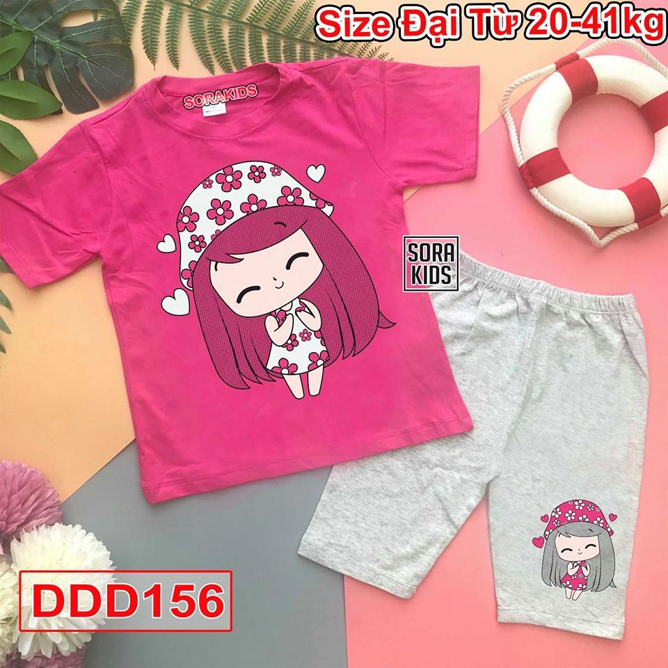 Bộ quần áo cotton ngố hình in thú dễ thương cho bé gái 2-10 tuổi Sorakids size từ 19-40 kg