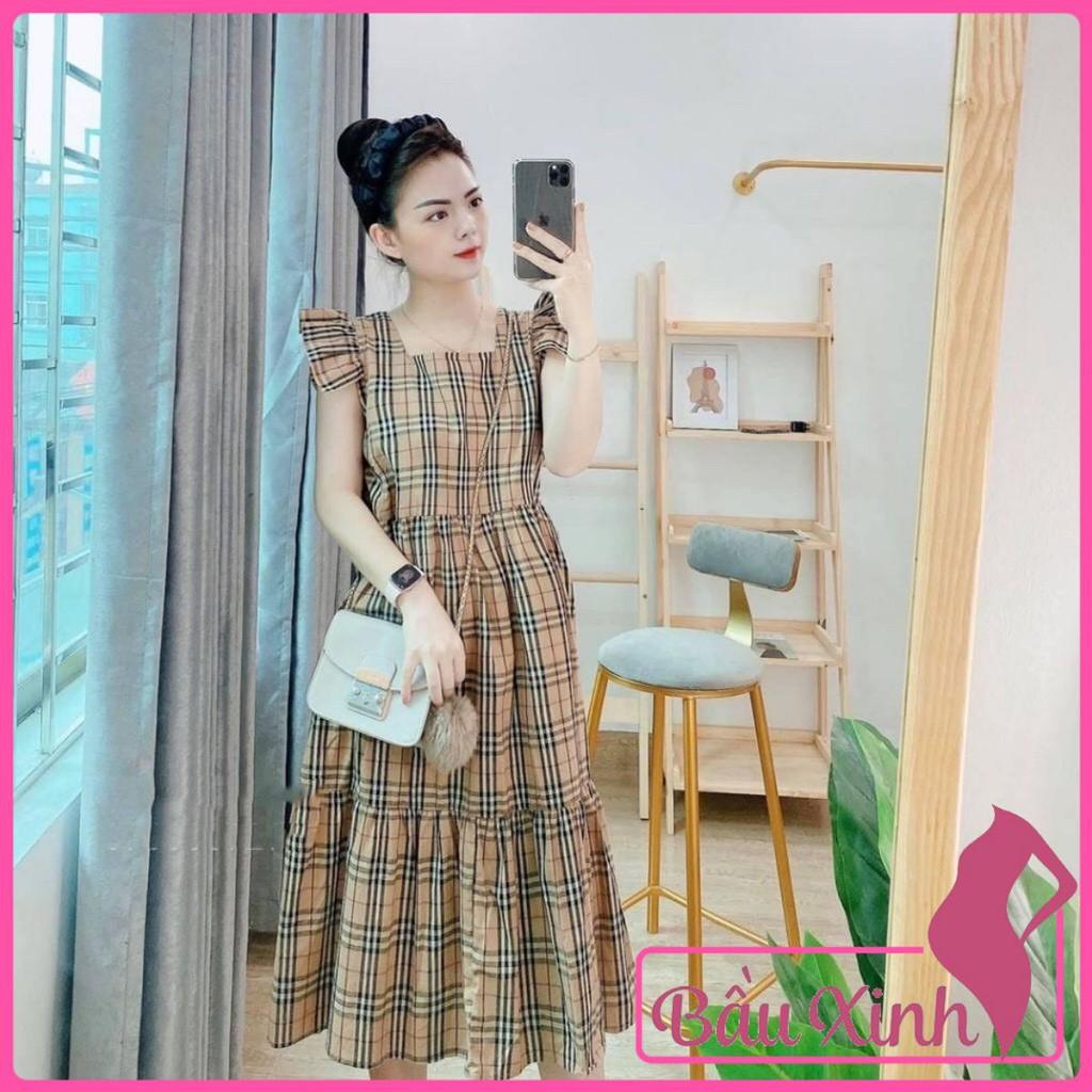Mặc gì đẹp: Dễ chịu với Váy bầu mùa hè - đầm bầu 2 dây sát nách bèo vai kẻ BBR cho mẹ bầu tới 70kg BN51