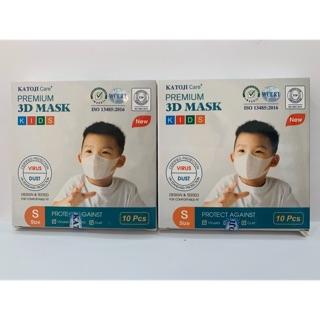 Khẩu trang 3D trẻ em ( hàng chuẩn xuất khẩu, hộp 10 cái)
