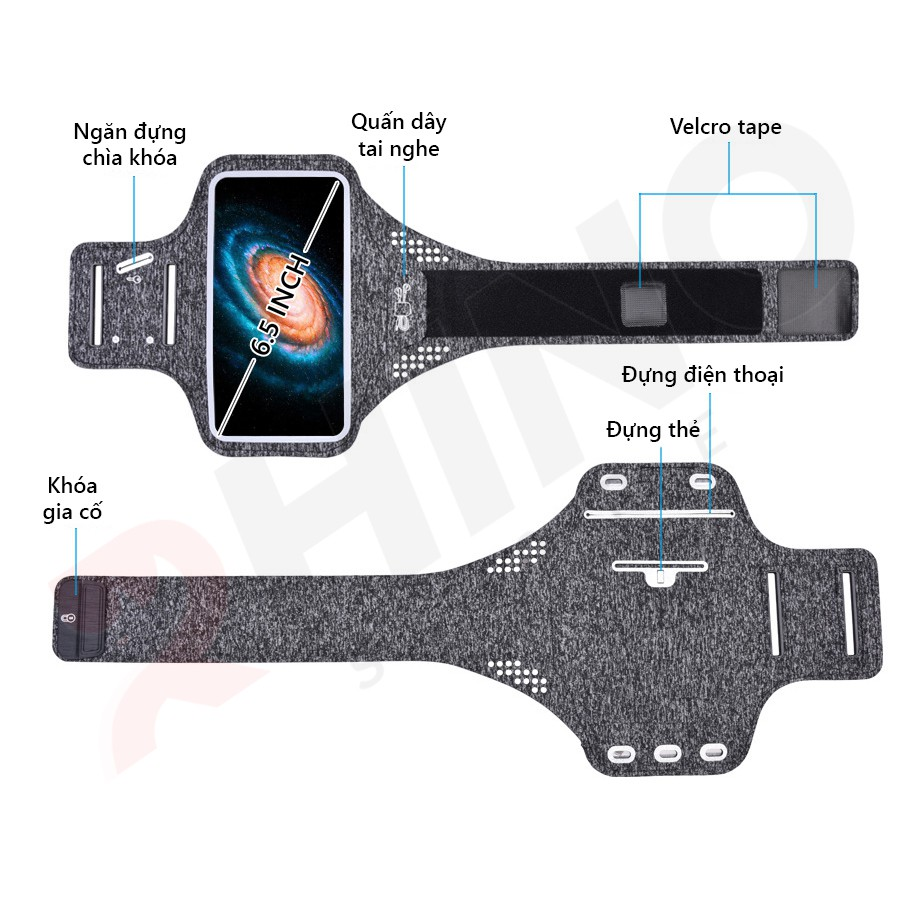 Túi đeo tay chạy bộ, túi đựng điện thoại chạy bộ rộng tới 6.7 Inch  ,Tập thể dục Rhino B101 Kháng nước, chống thấm.