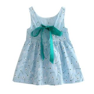 Đầm cotton không tay in hoa ngọt ngào cho bé gái