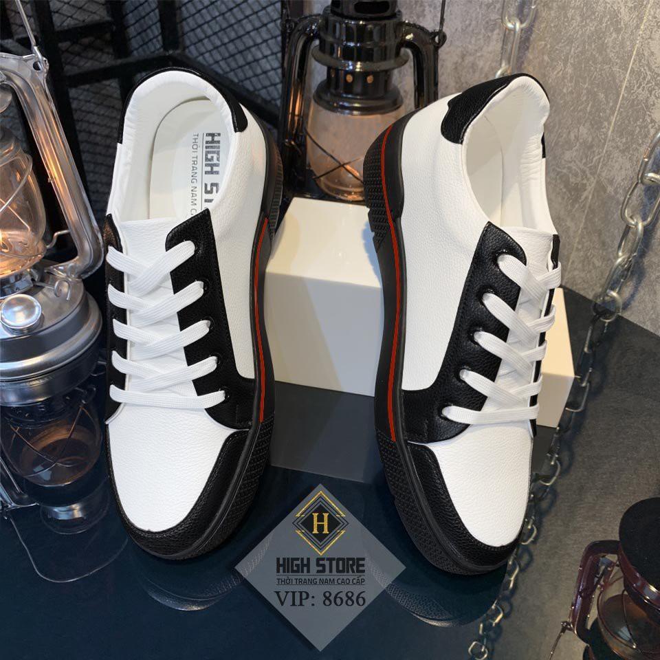 Giày Da Nam Cổ Thấp Phối Màu Đen Trắng 1993Shop - Giầy Nam Da Pu Size Từ 38 Đến 44 VIP :8686