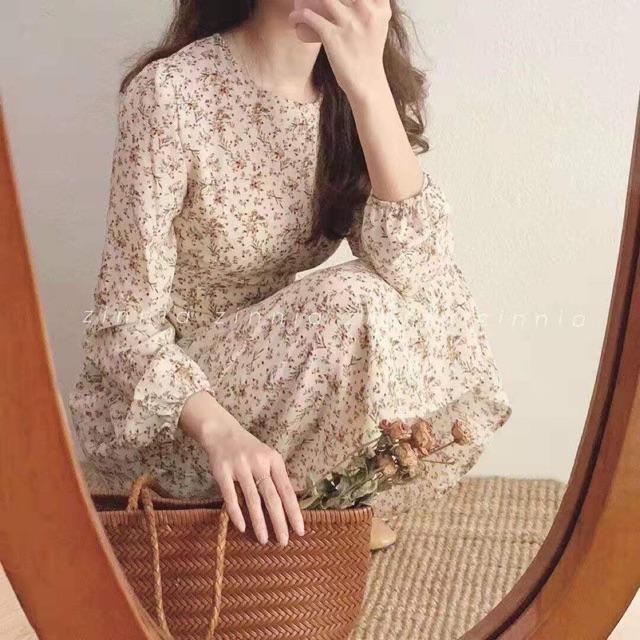 Đầm hoa nhí vintage dài tay ( kèm ảnh thật)