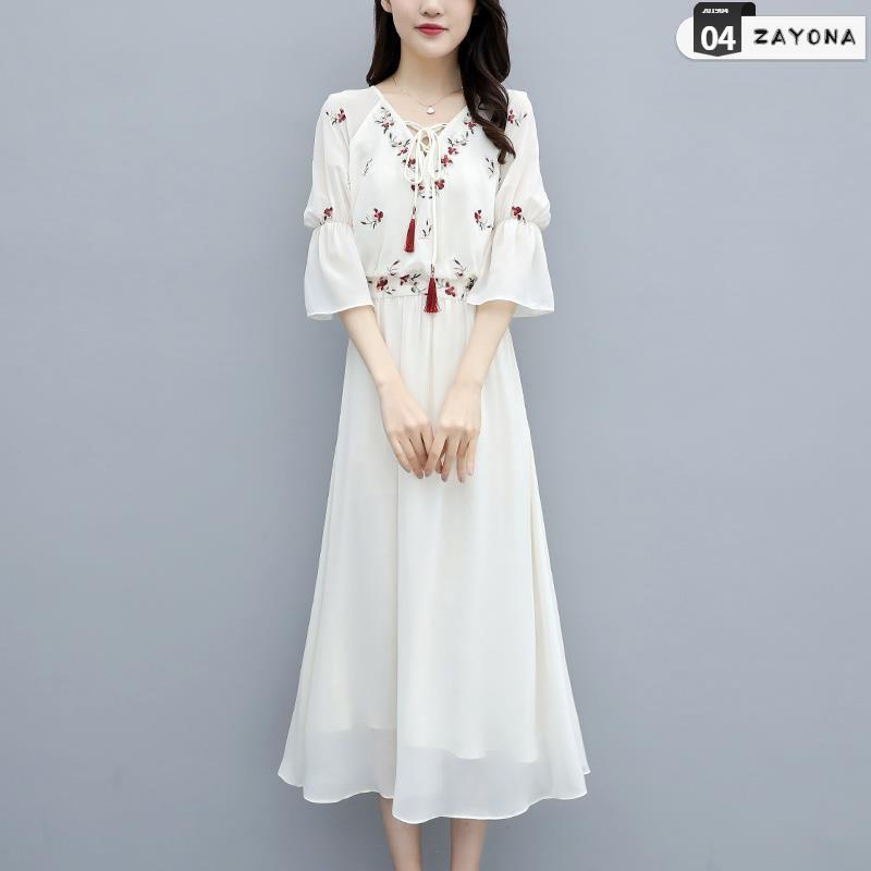 Đầm dự tiệc chất liệu voan thời trang hè 2019 phong cách mới cổ nữ phổ biến Váy hè mỏng