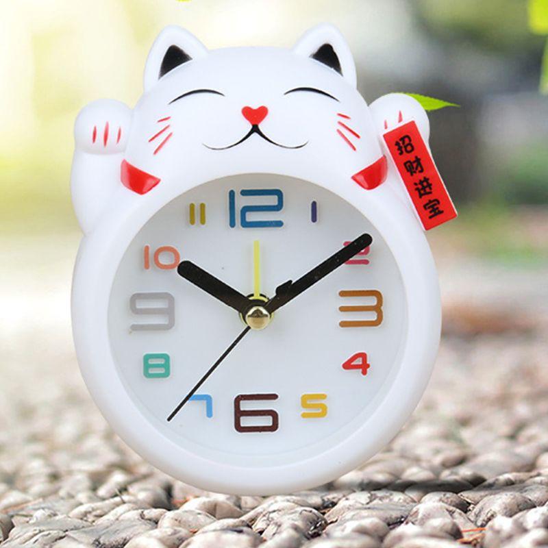 Đồng Hồ Báo Thức Hình Mèo May Mắn Phong Cách Trung Hoa