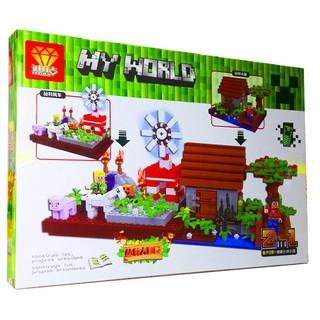 Bộ Lego Ninjago Xếp Hình MineCraft My World Bảo Vệ Nông Trại No.ZB9936A.Gồm 249 chi tiết. Lego Lắp Ráp Cho Bé
