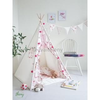 Lều vải cọc gỗ cho bé, vải cotton 100% canvas hồng hạc, gỗ tự nhiên, lều vải Thiên Ý