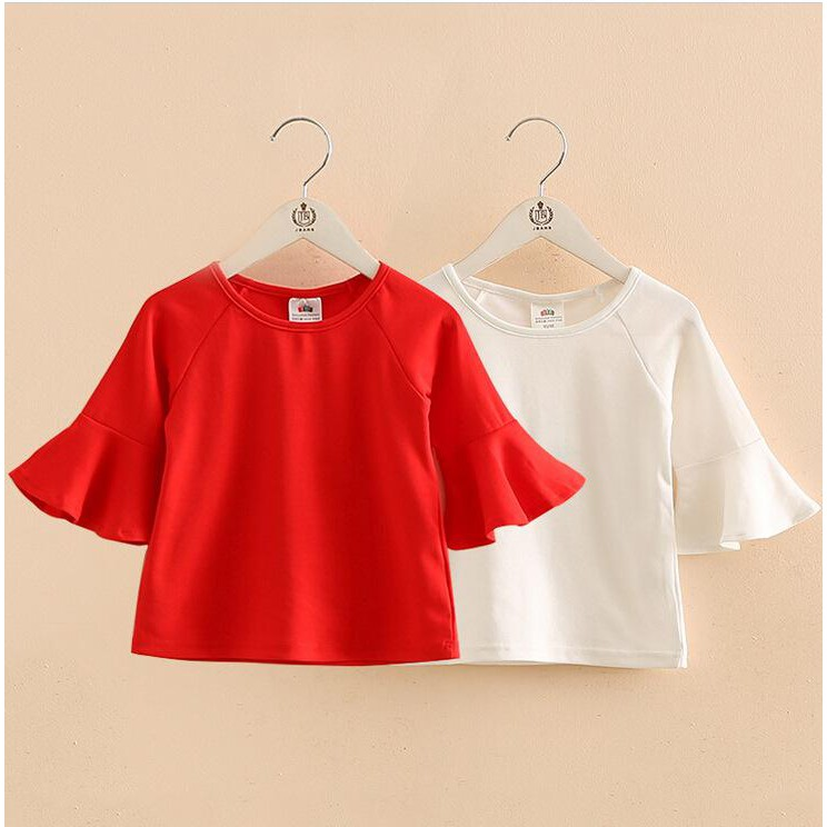 Summer Kid'S Wear Trumpet Sleeves T-Shirts Girl'S Pure Color Cotton Blouse