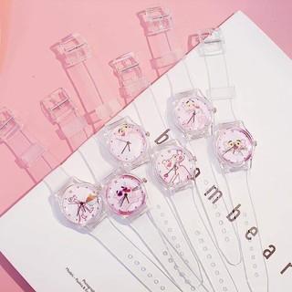 (ngẫu nhiên) Đồng hồ thời trang nữ Unisex dây nhựa trong siêu cá tính