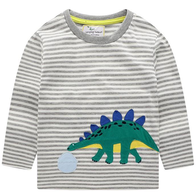 Áo phông dài tay bé trai cao cấp Jumping Meters kẻ màu ghi hoạ tiết khủng long