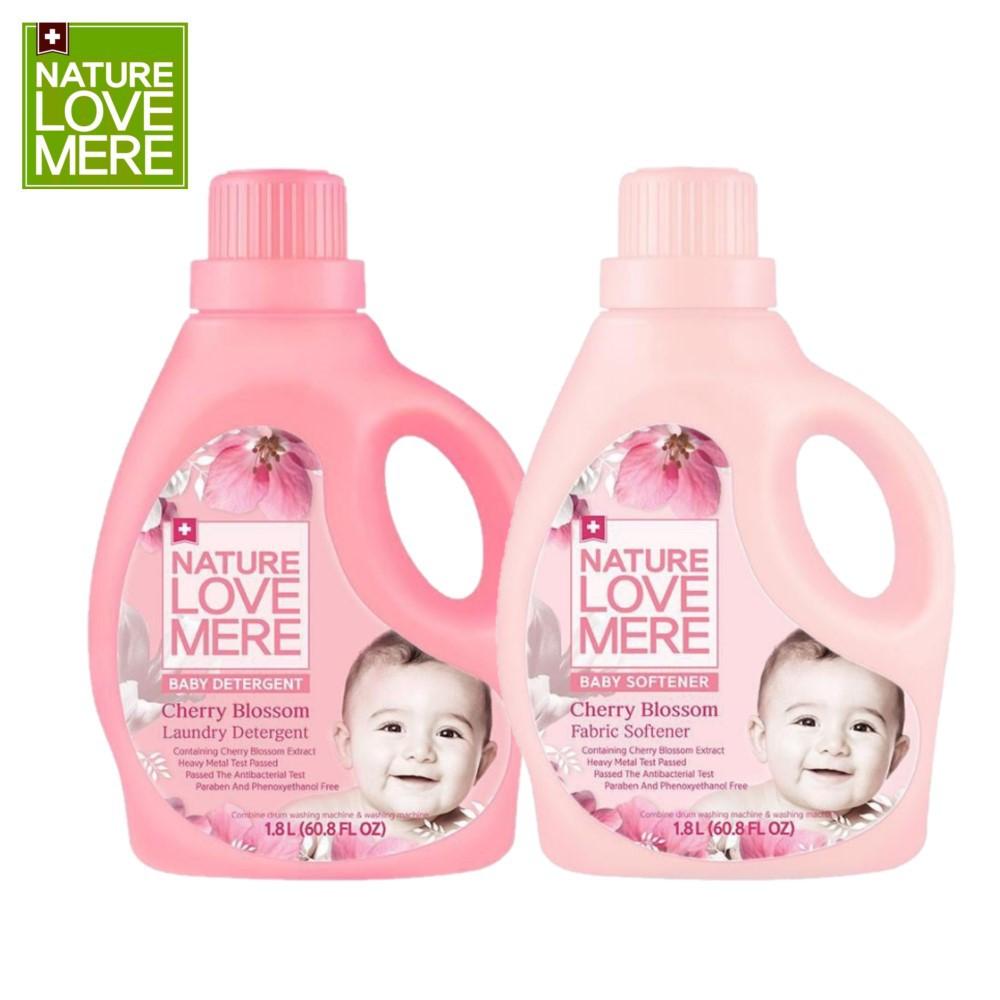 Combo Nước giặt và nước xả Nature Love Mere hương hoa anh đào Cherry Blossom chai 1.8L/ túi 1.3L