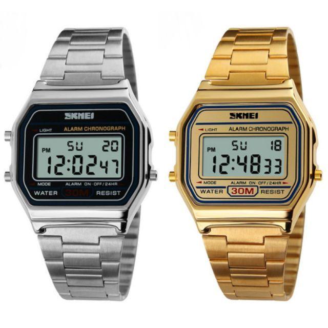Đồng hồ điện tử SKMEI mặt vuông vỏ hợp kim thép. Sản phẩm đang giảm giá